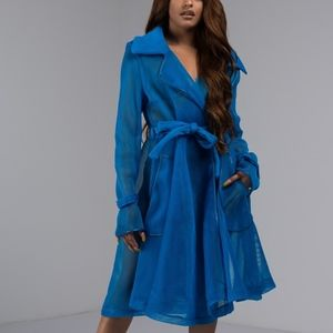 Akira HOT HEADED NETTED Mesh Trench COAT Blue sz M